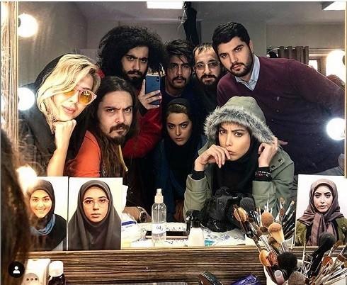 ریحانه پارسا، سینا مهراد و ساناز طاری در پشت صحنه سریال پدر