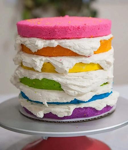 آموزش درست کردن کیک رنگین کمان