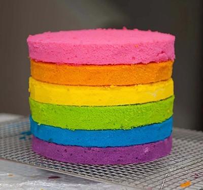 درست کردن کیک رنگین کمان